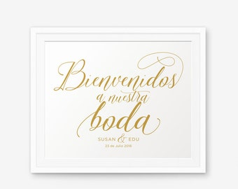 Personalized Wedding Sign, Bienvenidos a Nuestra Boda, Spanish Welcome to our Wedding, Wedding welcome sign, Wedding Decor, Style 2