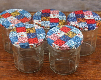 Vintage Jelly Jars With Patchwork Metal Screw Lids ~ Set of 5 ~ Circa 1980s ~ Great for a Country Kitchen or Craft Room!