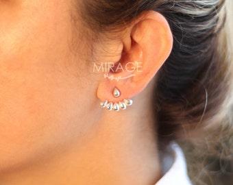 6 Drops Ear Jackets, Sterling Silver/ Modern earrings /Pair