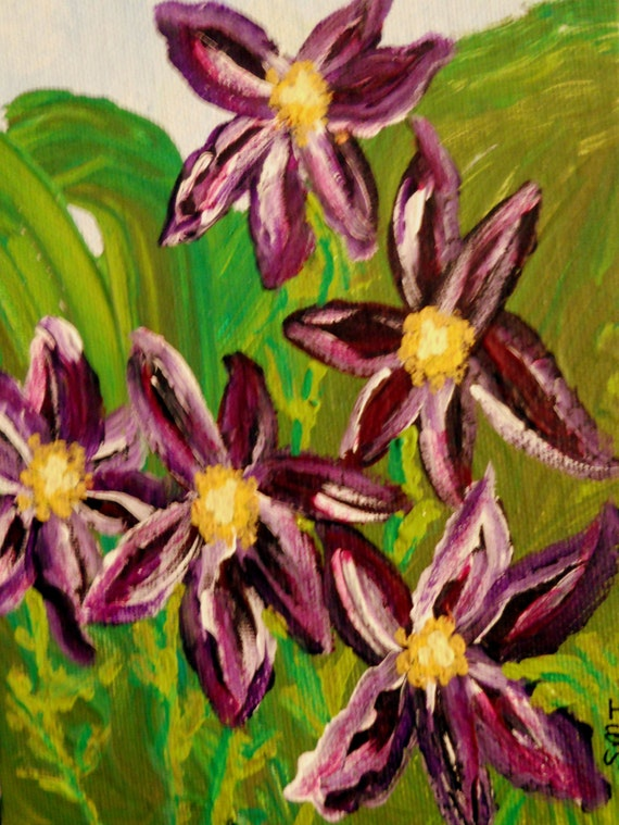 "MIDNIGHT CLEMATIS Acrylic Painting on 5x7"" Canvas Panel, dark purple Clematis, Folk Art, Stacey Torres Artist, Flowers"