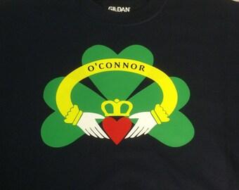 Personalized Irish Claddagh and Shamrock Hooded Sweatshirt