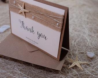 Wedding Thank You Card, Thank You Notes, Thank You Card Folded, Beach Wedding Thank You Card, Burlap Thank You Notes, Rustic Thank You