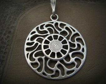Silver Prussian Sun symbol pendant