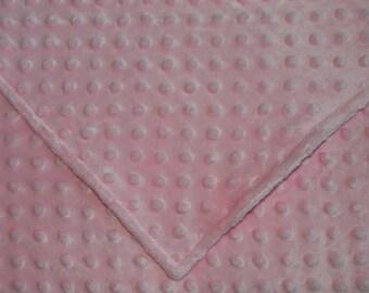 Baby Pink Minky Dimple Dot Baby Blanket/Toddler Blanket