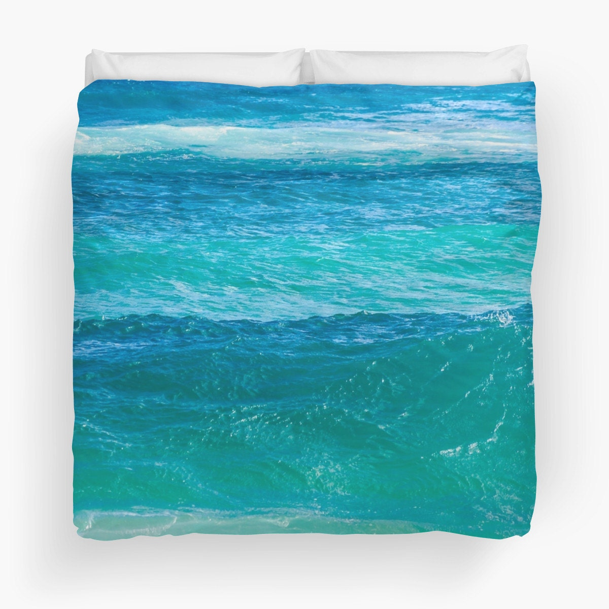 Ocean Duvet Cover with Deep teal water Water Bedding water