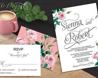 Sienna Printable Wedding Invitation+rsvp card (Digital files), Calligraphy ,Elegant script, Blush roses, Pink Botanical/ Add-on option