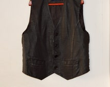Chocolate Brown Mens Leather Vest Original Rocky Vintage Waistcoat  Country Western Vest Large Size