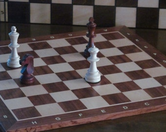 Brand New Hand Crafted Mahogany/Sycamore Wooden Chess Board 50cm x 50cm