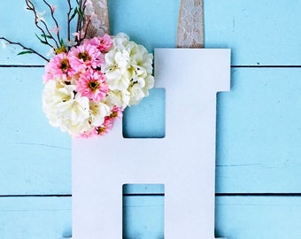 Summer Door Hanger, Wood Letter Decor, Wedding Decor, White Wood Letter, Door Hanger, Flower Door Hanger, Monogram Letter, Rustic Decor