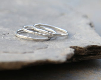 Sterling silver midi rings, set of 3 silver stacking rings