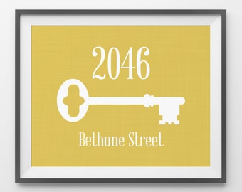 Welcome Print House Number Address Plaque Front Door Sign Foyer Decor Skeleton Key Print Address Number Print Address Sign Apartment Entry