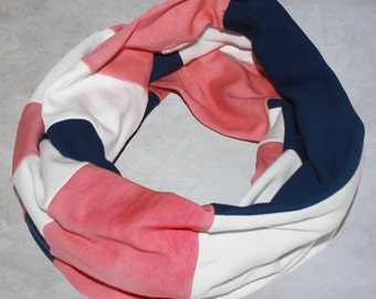Organic Cotton Infinity Scarf - Colorblock Women's Scarf - Organic Cotton Women's Accessories - Pink Navy and White Infinity Scarf