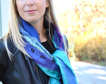 BLUE Recycled Sari Silk Scarves