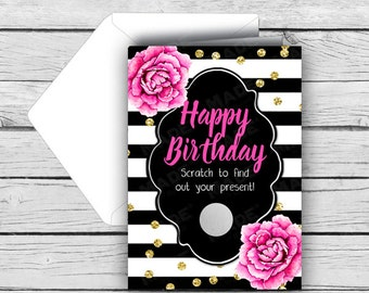 BIRTHDAY Scratch Card - Pink Peonies, Birthday Cards, Printed Cards, Stationery, Celebration, Black & White, Peonies