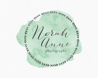 Green Wreath Logo Design , Green Watercolor , Green Watercolour , Photography Watermark , Leaf Wreath , Simple Wreath , Green and Gray