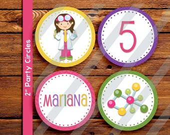 "Science cupcake circles. 2"" printable science cupcake toppers"