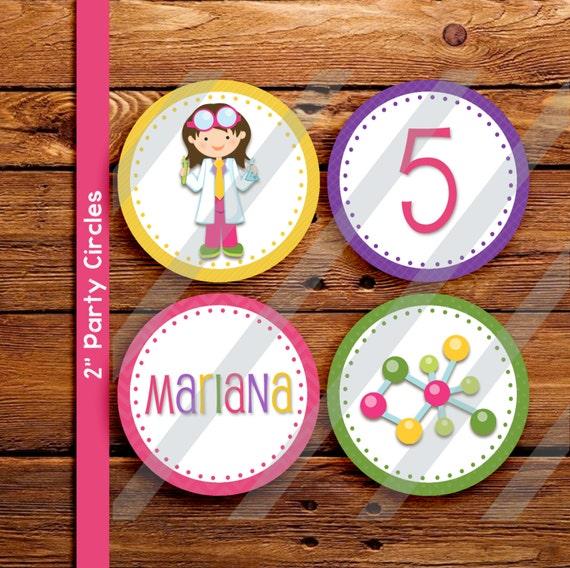 "Science cupcake circles. 2"" printable science cupcake toppers"