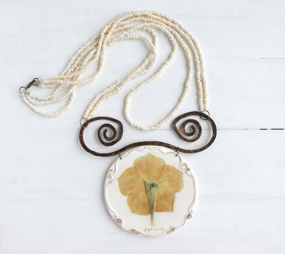 Real Flower Necklace. Statement Necklace. Real Flower Jewelry. Big Necklace. Large Necklace. OOAK Necklace. Eco Friendly Jewelry