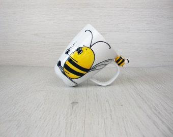 Bee Coffee Mug, Honey Bee, Bumble Bee Cup, Honey Bee  Mug,  Animal Mug, Cute Bee Mug,  Bee Lover, Yellow Coffee Mug,