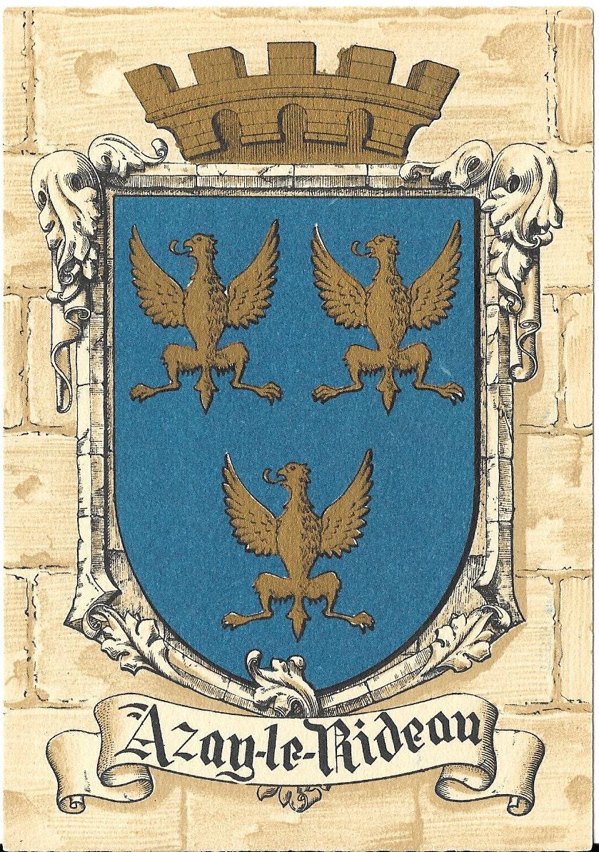 azay le rideau coat of arms france vintage 1950 39 s. Black Bedroom Furniture Sets. Home Design Ideas