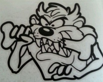 Taz Tazmanian Devil with Bone Vinyl Decal Sticker Looney Tunes