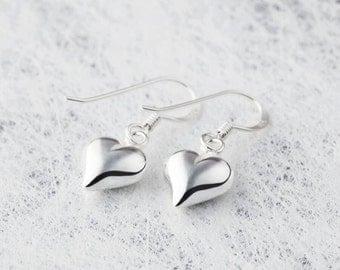 Sterling Silver Puff Heart Earrings