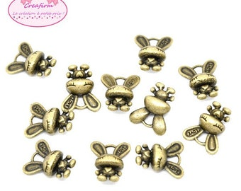 30 charms rabbits color Bronze