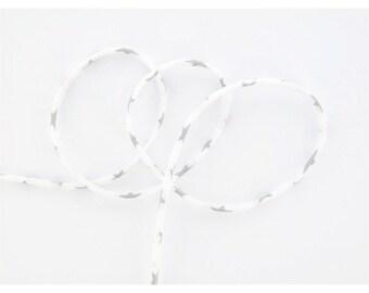 Lawn star white silver cord, per metre