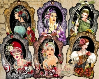 ART NOUVEAU LADIES Gift Tags Printable, Digital Collage Sheet, Scrapbook, Jewelry Holders, Hang Tags, Scrapbook, Download Images