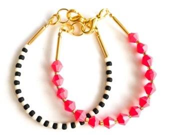 Stacking Bracelets - Baby Bracelet - toddler bracelet - baby girl jewelry- pink bracelet - black and white bracelet - beaded bracelet
