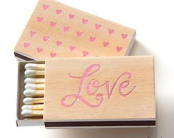 LOVE HEARTS Wood Veneer Matchboxes - Wedding Favors, Wedding Matches, Wedding Decor, Party Favor Bags, Valentines, Match Box Favor, Birch