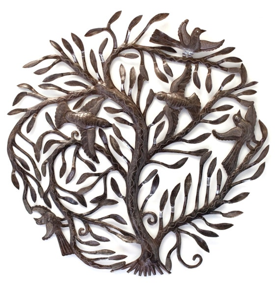 "Large Garden Tree of Life, Metal Wall Art, Fair trade from Haiti, 32"" x 32"""