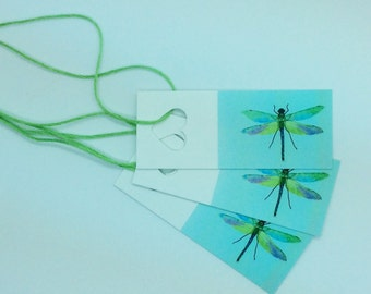 Dragonfly gift tags, hand painted and printed by artist and illustrator Ruth Goodwin, gift wrapping, birthday, blank tags, gift tags,wedding