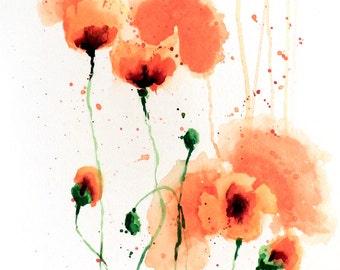 Original 11x15 Watercolor Painting - Orange Poppies
