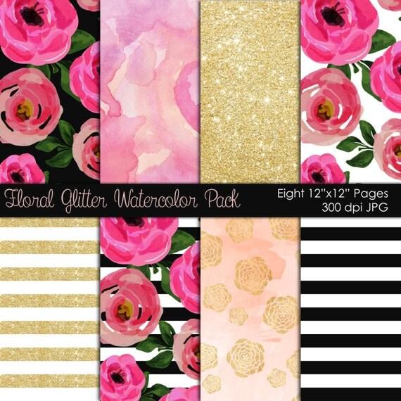 Digital paper, scrapbook paper, floral watercolor paper, digital scrapbooking, flower scrapbook paper glitter scrapbook instant download