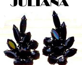 Vintage Juliana Clip Earrings Jet Black Crystal Rhinestone