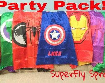 READY TO SHIP!  Set of 10 Ten Kids Superhero Capes - Ironman, Spiderman, Captain America, Spidergirl, Hulk, Thor, More!