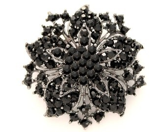 Crystal Black Brooch, Rhinestone Brooches for Bouquet, Black Bridal Brooch, Black Wedding Brooches, Black Dress Broach, Black Broaches