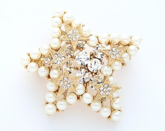 Star Brooch Gold Rhinestone Pearl Wedding Brooch Bridal Dress Corsage Pillow Broach DIY Jewelry Gold Rhinestone Stars Brooches