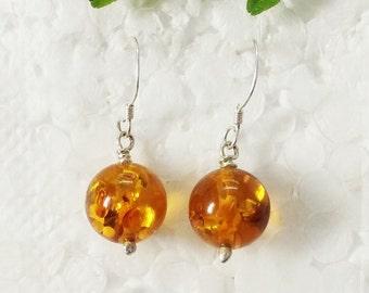 Beautiful AMBER Gemstone Earrings, Birthstone Earrings, 925 Sterling Silver Earrings, Fashion Handmade Earrings, Dangle Earrings, Love Gift