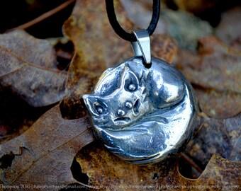 Fox Pendant - fox jewelry, totem, fox necklace, fox gifts, animal necklace, animal jewelry, silver fox jewelry