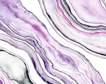 Watercolor Abstract Painting, Abstract Wall Art Purple Abstract Watercolor Painting Agate Print Amethyst Purple Watercolor Print Agate Art
