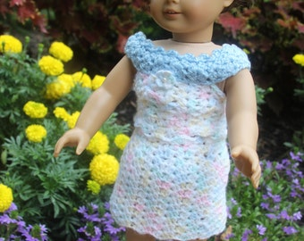 "Doll Clothes for 18"" American Girl Doll - Handmade Crochet Skirt and Top - No Metal. Pull on. Item D23"