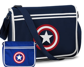 Captain America Marvel Comics Sheild Design Retro Shoulder Messenger Bag Navy Blue and Royal Blue