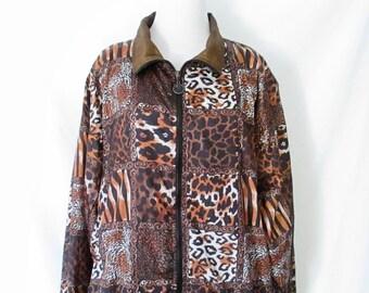 90's Windbreaker Animal Print 90's Bomber Jacket 1990's Nylon Jacket Cheetah Print Jacket Hipster Jacket