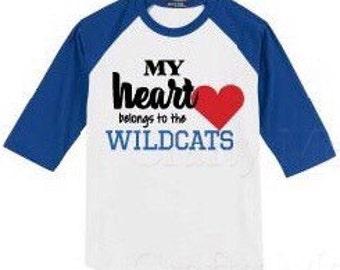 Wildcat heart baseball tee(youth)