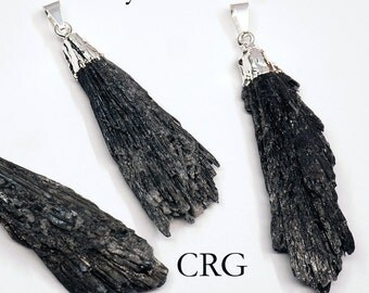 Silver Plated Black Kyanite Crystal Fan Pendant (FN11BT)