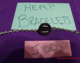 Hemp and button braided open tie bracelet