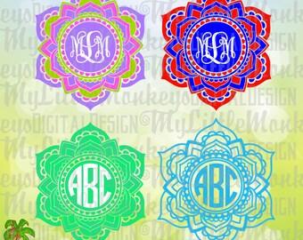 Mandala SVG ~ Mandala Monogram SVG ~ SVG Monogram ~ 3 Color ~ Cut File & Clipart ~ 2 Color ~ 3 Color ~ Instant Download jpeg-png-svg-dxf-eps