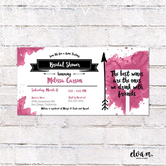 Wine tasting bridal shower invitation 4x8 invite custom for 4x8 wedding invitations